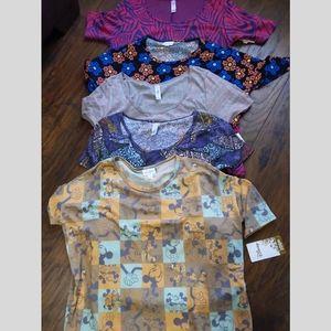 LuLaRoe lot of 5 new t-shirts 1 Disney  all sx XS